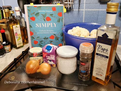 Zutaten für die Blumenkohlsuppe mit Kreuzkümmel.