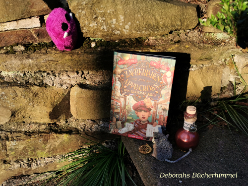 Der Zauberladen von Applecross zusammen mit Blogmaus, Zaubertrank und kleinem Monster an Mauer gelehnt.