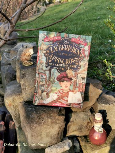 Das Buch von Pierdomenico Baccalario auf Steinen zusammen mit der Blogmaus und einem Zaubertrank.