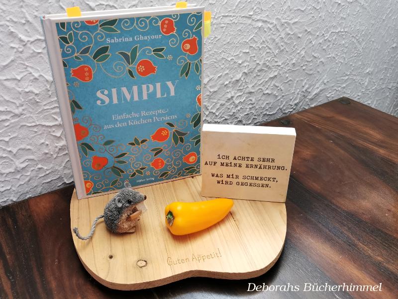 Sabrina Ghayours neues Kochbuch Simply zusammen mit der Blogmaus und passender Deko