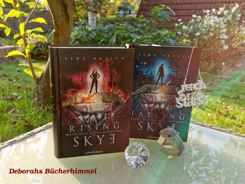 Rising Skye und Falling Skye von Lina Frisch, zusammen mit der Blogmaus, einem Kristall und einem Regenbogen