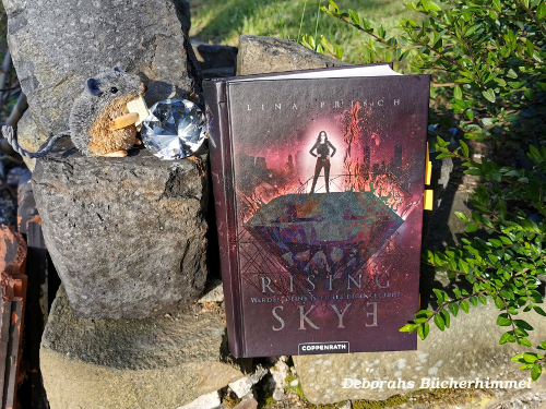 Rising Skye auf Steinen mit Blogmaus