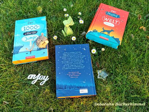 """Drei Bücher von Ross Welford auf der Wiese, der Klappentext von """"Das Kind vom anderen Stern"""""""
