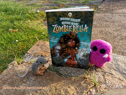Joseph Coelho's Book with blog mouse and purple monster on mural